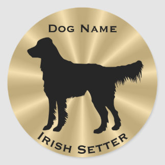 Outgoing Irish Setter Dog Silhouette Classic Round Sticker