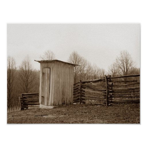 Outhouse and Rail Fence Print