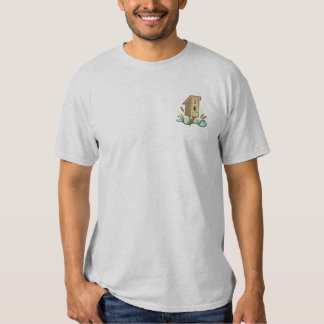 Outhouse Birdhouse Embroidered T-Shirt