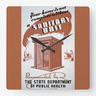 Outhouse WPA Poster Square Wall Clock