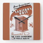 Outhouse WPA Poster Square Wall Clocks