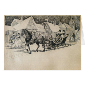 Outing in a One Horse Open Sleigh Card