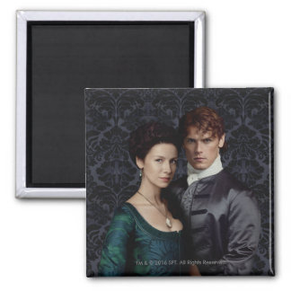 Outlander | Claire And Jamie Damask Portrait 2 Inch Square Magnet