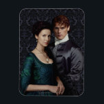 "Outlander | Claire And Jamie Damask Portrait Magnet<br><div class=""desc"">Photographic gallery image of Clair and Jamie together,  from Season 2 of the Outlander television series</div>"