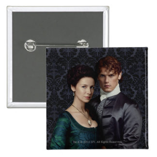 Outlander | Claire And Jamie Damask Portrait Pinback Button