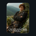 "Outlander | Reclining Jamie Fraser Photograph Magnet<br><div class=""desc"">Photographic gallery image of James Alexander Malcolm MacKenzie Fraser,  leaning against a Highland crag,  from Season 1 of the Outlander television series</div>"