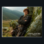 "Outlander | Reclining Jamie Fraser Photograph Postcard<br><div class=""desc"">Photographic gallery image of James Alexander Malcolm MacKenzie Fraser,  leaning against a Highland crag,  from Season 1 of the Outlander television series</div>"