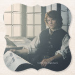 "Outlander Season 3 | Jamie Fraser Reading Paper Coaster<br><div class=""desc"">Image of Jamie from Season 3 of the Outlander television series</div>"