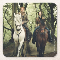 Outlander Season 4 | Jamie & Claire Ride In Woods Square Paper Coaster
