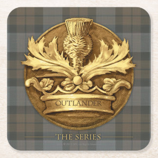 Outlander | The Thistle Of Scotland Emblem Square Paper Coaster