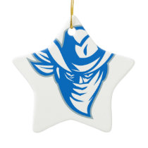 Outlaw Bandit Cowboy Retro Ceramic Ornament