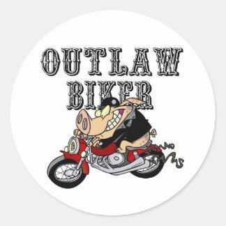 Outlaw Biker Classic Round Sticker