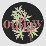 Outlaw & Green Leaf Classic Round Sticker