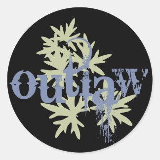 Outlaw & Green Leaf Round Sticker