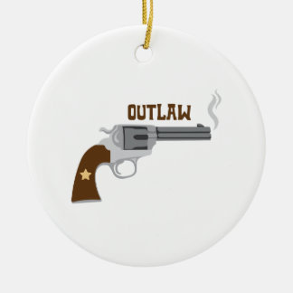Outlaw Pistol Ceramic Ornament