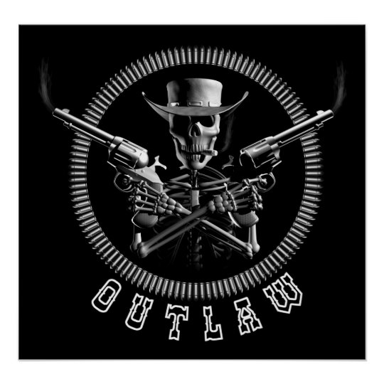 Outlaw Skeleton Cowboy Posters
