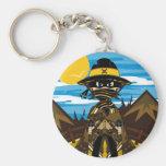 Outlaw Skull Cowboy Keychain