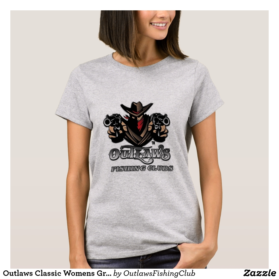 Outlaws Classic Womens Grey T Shirt - Best Selling Long-Sleeve Street Fashion Shirt Designs