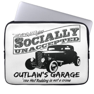 Outlaw's Garage. Socially unaccepted Hot Rods Computer Sleeve
