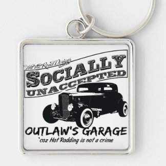 Outlaw's Garage. Socially unaccepted Hot Rods Silver-Colored Square Keychain