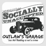 Outlaw's Garage. Socially unaccepted Hot Rods Square Stickers