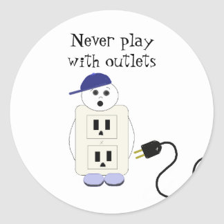 Outlet Receptacle Safety Warning Round Sticker