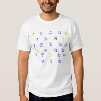Outline Art - Alphabet shirt, yellow, blue, green Shirt