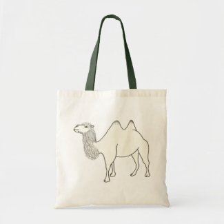 Outline Art Drawing of a camel, canvas bags