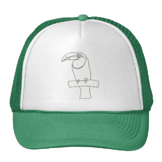 Outline art drawing of a Toucan bird on branch Hat