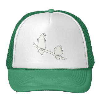Outline Art Drawing of Two Eagles on a Branch Hats