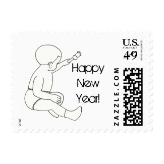 Outline Baby Hammer Happy New Year Stamps
