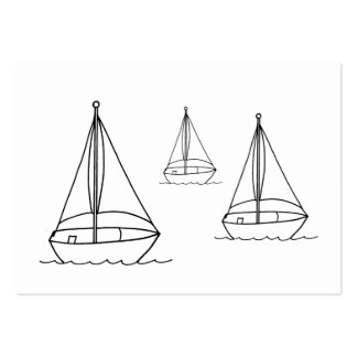 Outline Drawing 3 Sailboats Coloring Cards Business Card