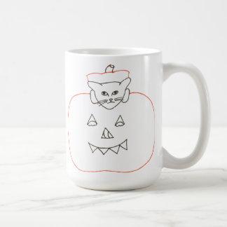 Outline Drawing Cat in a Pumpkin Halloween Mugs