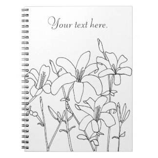 Outline Drawing Lily Flowers Custom Notebooks