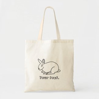 Outline Drawing of Bunny Rabbit Tote Bags