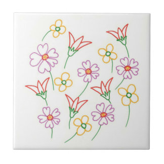 Outline drawing red yellow lavender flowers trivet