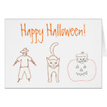 Outline Drawing Scarecrow Cat Pumpkin Cards