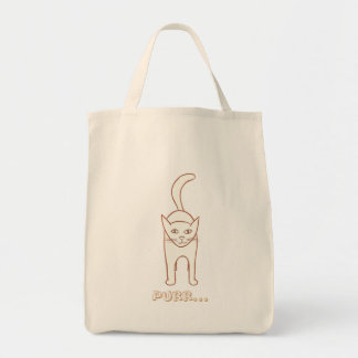Outline drawing, Standing Cat  Purr canvas bags