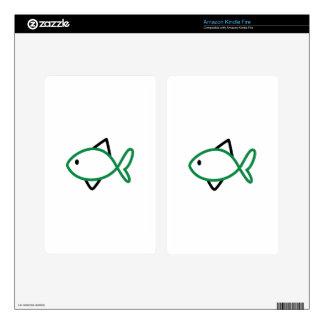 Outline Fish Kindle Fire Skin