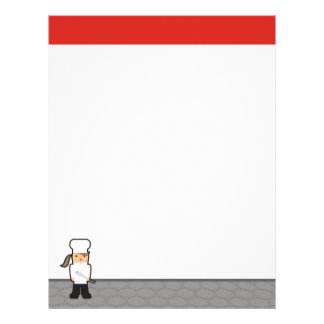 Outline girl chef whisk menu recipe letterhead