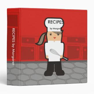 Outline girl chef whisk recipe cookbook binder
