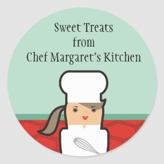 Outline girl pastry chef baker gift tags stickers