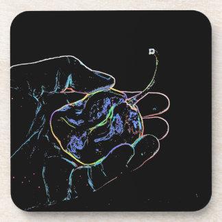 outline hand pepper sketch dark color food beverage coasters