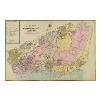 Outline, index map Westchester County Poster