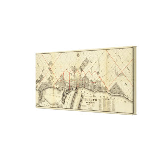 Outline Map of Duluth and Suburbs Gallery Wrapped Canvas