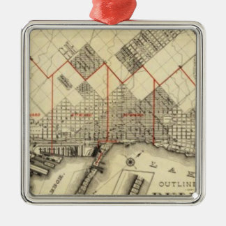 Outline Map of Duluth and Suburbs Metal Ornament