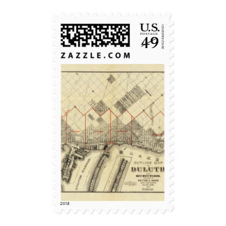Outline Map of Duluth and Suburbs Postage
