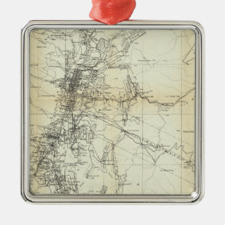 Outline Map of Washoe District Metal Ornament