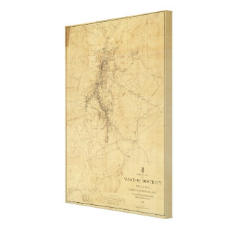 Outline Map of Washoe District, Nevada Canvas Print