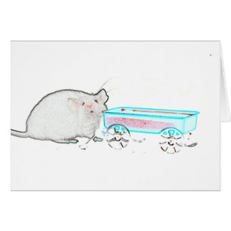 outline mouse with wagon cute mice animal card